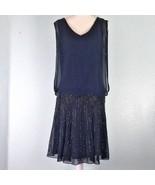 Jkara Womens Sz 10 Dress Dark Blue Beaded Chiffon Retail $230 - $88.81