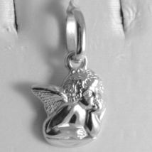 Pendant In White Gold Medal 750 18k Guardian Angel, Engraving, Made in Italy image 3