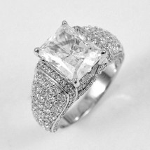 ZirconZ Custom-4CTW Pave & Emerald Signity CZ Sterling Silver Engage... - $99.99