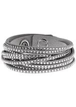 Authentic Swarovski Slake Grey Size 14 inches Leather Bracelet 1179236 - $40.00