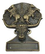 Longhorn Steer Two Rearing Horses Door Knocker Cast Brass w Name Plate 5... - £66.06 GBP