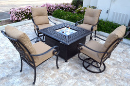 Conversation patio set Propane fire pit table outdoor  aluminum Santa Anita 5 pc image 1