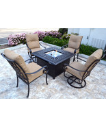 Conversation patio set Propane fire pit table outdoor  aluminum Santa An... - $2,979.89