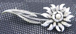 VTG 1950s Silver Tone PEGASUS CORO Clear Rhinestone White Enamel Flower Brooch - $39.60