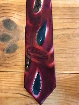 Wembley Feathers Tie Starshine Prints Burgundy Necktie - $9.89