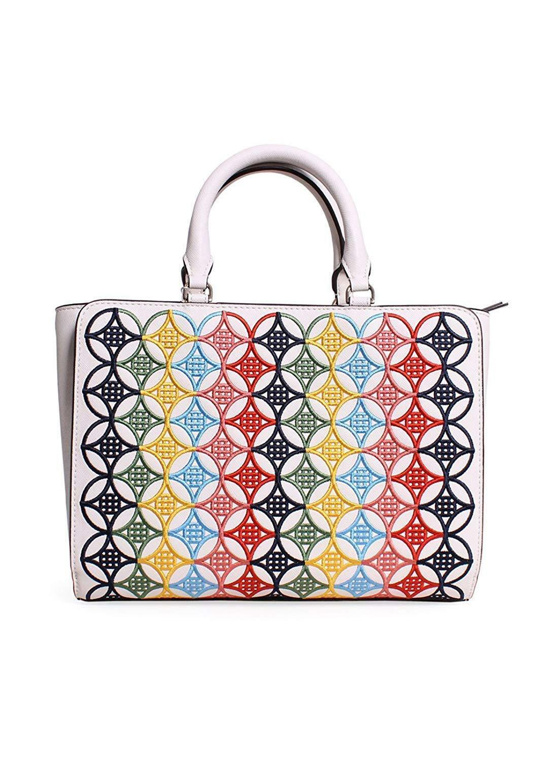 Tory Burch Robinson Embroidered Small Zip Tote in New Ivory Multi