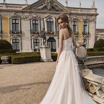 Luxury One Shoulder Mermaid Wedding Dress Detachable Train Long Sleeves Lace App image 5