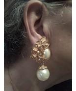 VINTAGE CLIP GOLDTONE EARRINGS W/ FAUX PEARL PAVE LEAVES & PEARL DROP 2.... - $40.00