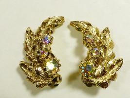 Gold tone metal Leaf Aurora Borealis Crystals Rhinestones Clip Earrings - $16.63