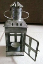 "TIN AND GLASS VINTAGE LOOK LANTERN CANDLE HOLDER 8""x 2.75"" MADE IN INDIA - $34.94"