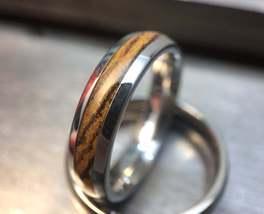 Bocote Wood Wedding Band with Silver | Mens Wood Inlay Ring | Unisex Woo... - $110.00