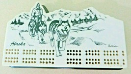 Alaska sled team dogs in Mountains artist signed Lee, cribbage board & p... - $60.75