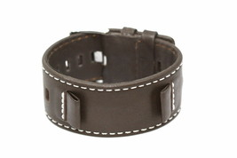 17-18 MM BROWN LEATHER STITCHED WIDE CUFF WATCH BAND STRAP - $29.70