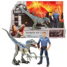 Year 2017 Jurassic World 8 Inch Long Dinosaur Figure VELOCIRAPTOR BLUE w... - $32.99