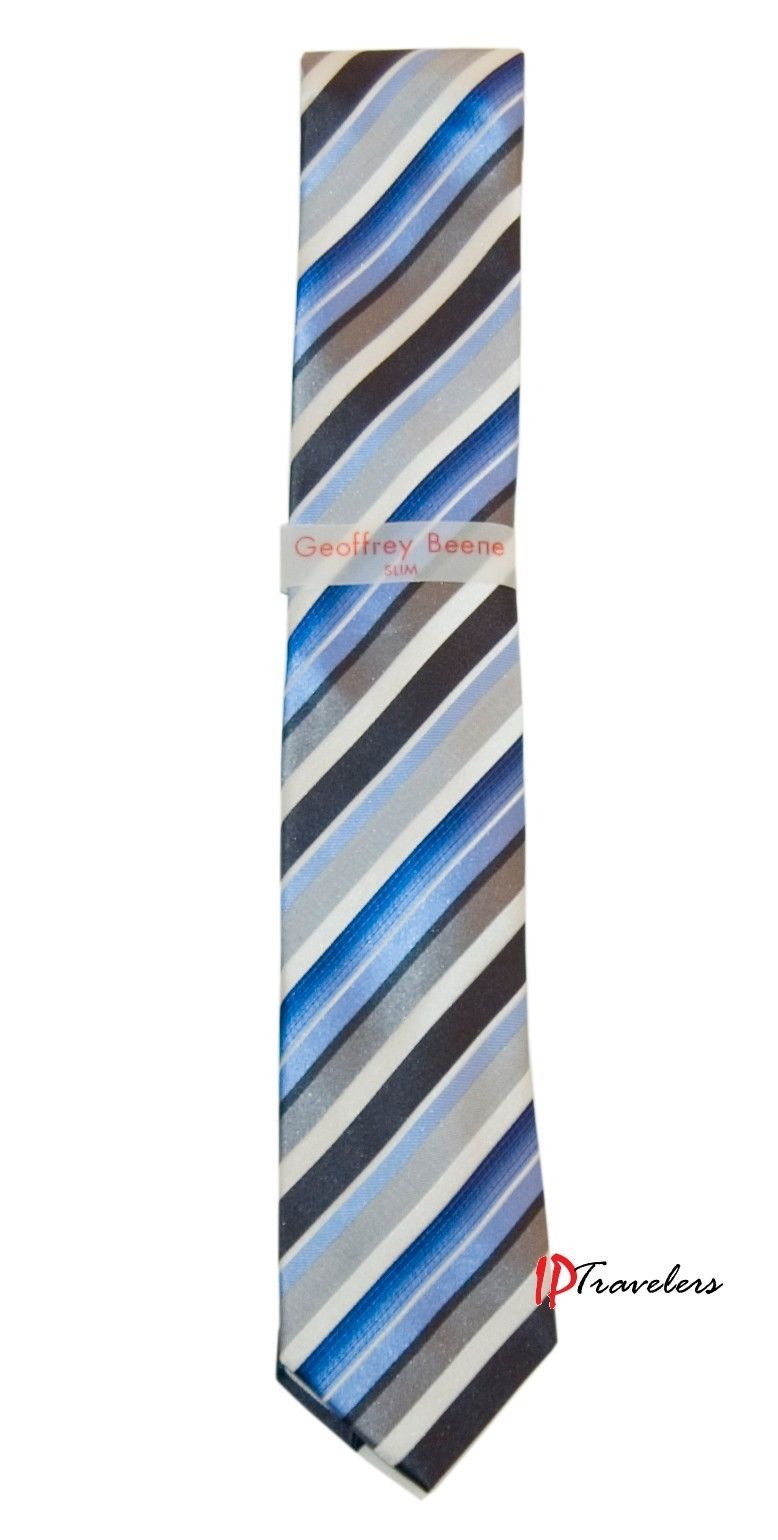 Geoffrey Beene Men's Neck Tie Slim Blue, Gray, Black and White Stripes 100% Silk