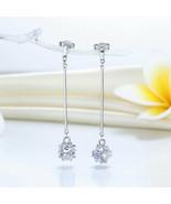 Elegant Solid 925 Sterling Silver Earrings Fancy Dangle Cube Wedding Ann... - $88.20