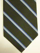 NEW Brooks Brothers Green With Silver and Light Blue Stripes Neck Tie USA - $37.49