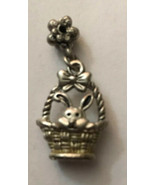 "Vintage Necklace Pendant Easter Bunny & Basket Silver Metal 3/4"" H X 1/2"" W - $5.70"