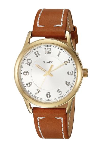 TIMEX Women's Gold Tone New England Leather Strap Wrist Watch CLASSIC TW2R23000