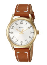TIMEX Women's Gold Tone New England Leather Strap Wrist Watch CLASSIC TW2R23000 image 1