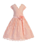 Blush Cap Sleeve V Neck Floral Lace with Corsage Flower Belt Girl Dress - $29.99+
