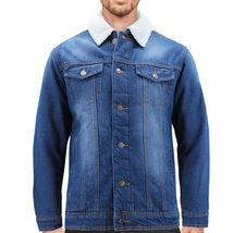 Men's Classic Cotton Sherpa Lined Button Up Red Label Denim Jean Trucker Jacket image 6