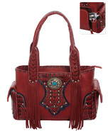 Ornate Western Fringe Concho Handbag Concealed Gun Pocket Purse Burgundy... - $49.49