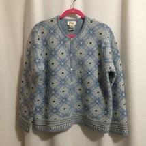 Talbots Cardigan Sweater Size L Blue & White Medallion Beaded Lambswool ... - $32.00