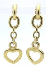 Vtg Gold Tone Satin Finish Erwin Pearl Heart Dangle Clip On Dangle Earrings - $39.60