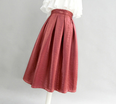 Burgundy Midi Party Skirt Outfit Glitter A-line Pleated Midi Skirt Plus Size image 2