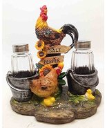 FARM FLAVOR ROOSTER CHICKEN CHICK SALT PEPPER SHAKERS HOLDER FIGURINE ST... - $19.95
