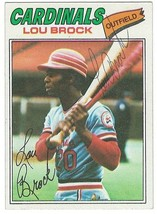 Lou Brock 1977 SIGNED Card #355 / Autographed St. Louis Cardinals - $24.24