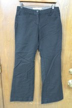 W9915 Womens OLD NAVY Black Stretch Cotton BOOT CUT SLACKS Pants Cuffed ... - $13.55