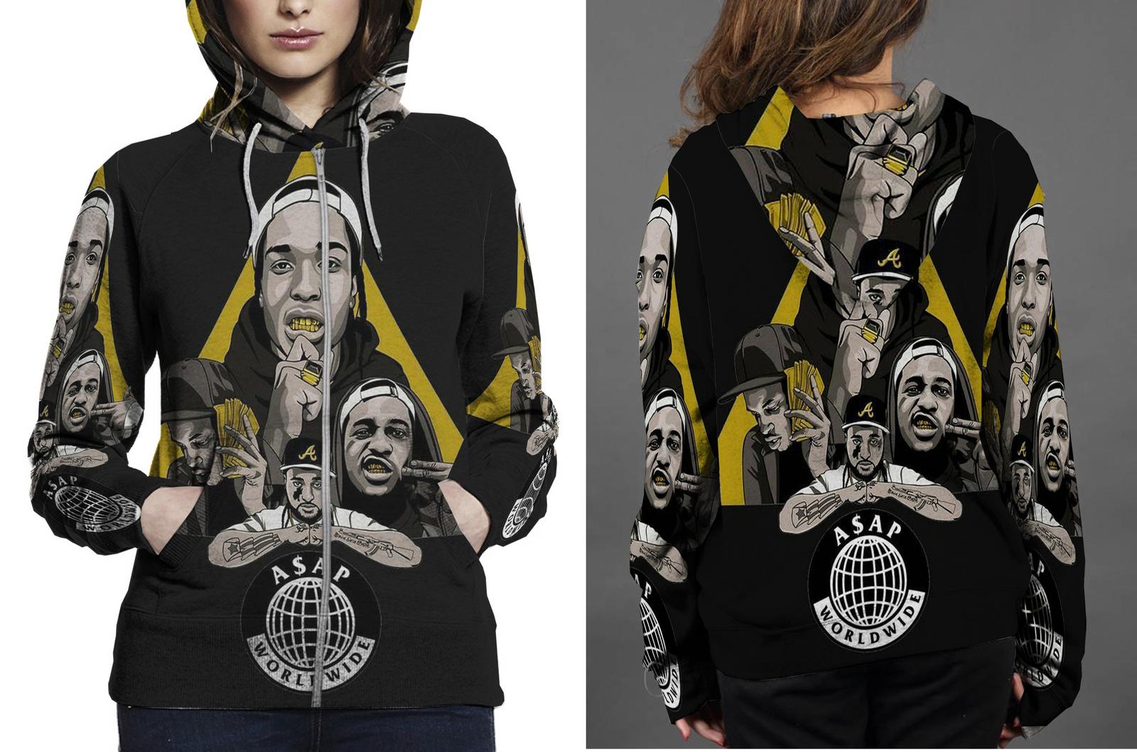 A ap hoodie zipper fullprint for women