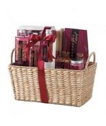 Deluxe Spa Set Cranberry Tart Bath Gift Set w Corn Husk Basket  - $30.56