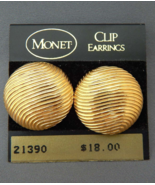 MONET Gold Button Clip-On Earrings, Gold Plated Textured Button, Vintage... - $44.00