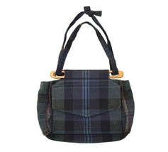 Vtg 90s Plaid Flannel Purse Shoulder Bag Satchel Bucket Ozark Mountain H... - $18.80