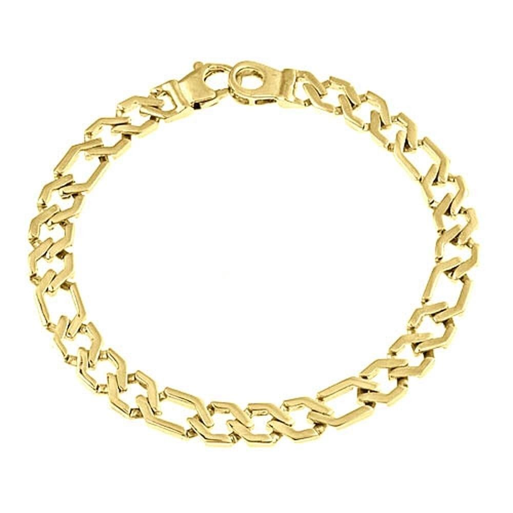 Men's Figaro Link Chain Bracelet 14k Solid Yellow Gold Handmade 7mm