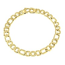Men's Figaro Link Chain Bracelet 14k Solid Yellow Gold Handmade 7mm - $1,266.21