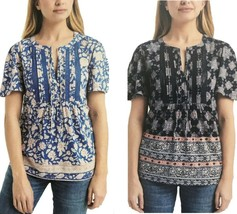 Lucky Brand Womens Tie-Neck Casual T-Shirt Top  - $14.99