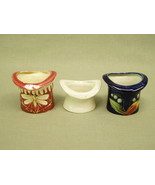 Lot 3 Vintage Ceramic Toothpick Holders rose pink white cobalt moriage p... - $17.10