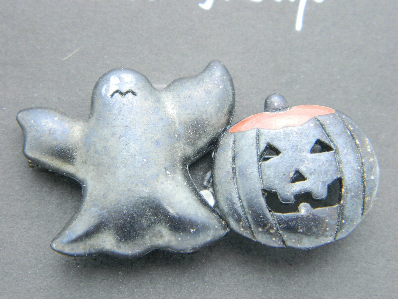 Vintage Halloween Black Ghost Enamel Pumpkin Darlene Group Pin Brooch NOS