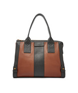 NEW FOSSIL WOMEN'S LEATHER GWEN MEDIUM SATCHEL HANDBAG BLACK/BROWN - $148.45