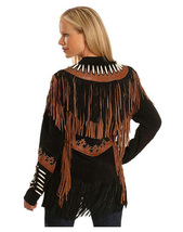 QASTAN WOMEN'S NEW BLACK FRINGED / BONE / BEADS SUEDE LEATHER JACKET WWJ24 image 3
