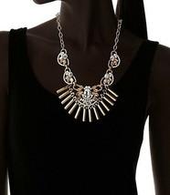 Fragments Gold Tone Glass Crystal CZ Bar Bib Oval Chain Necklace NWT image 2