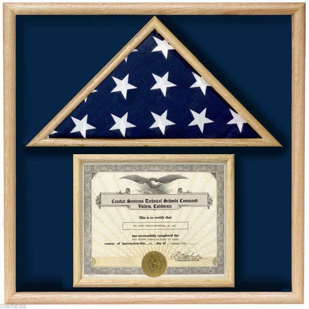 Primary image for USA MADE OAK  WOOD 3X5 MEMORIAL FLAG DOCUMENT HOLDER DISPLAY CASE SHADOW BOX