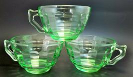 Vintage Anchor Hocking Green Depression Glass Block Optic Lot 3 Tea Cups - $19.80