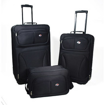 Luggage Set For Men Women 3 Piece Black Rolling Clearance Travel Bag Lig... - $76.63