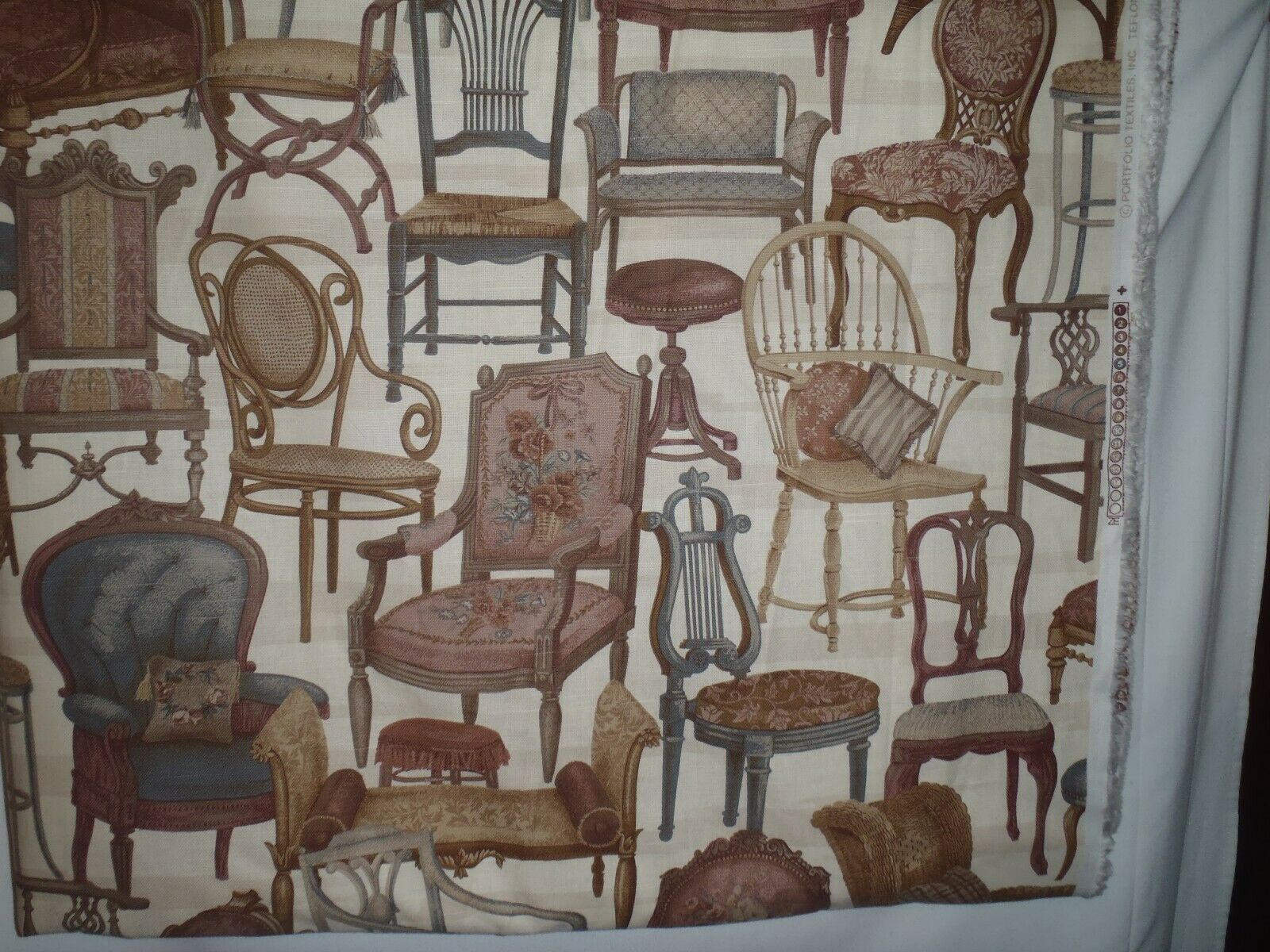 Primary image for Portfolio Fabric Cotton Upholstery Victorian Chairs New Remnant