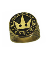 Solid Heavy Kingdom hearts Crown Sora Final Fantasy 24K Gold Plated ring... - $109.99